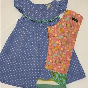 Matilda Jane Blue Dot Dress & Happy Leggings 4/6